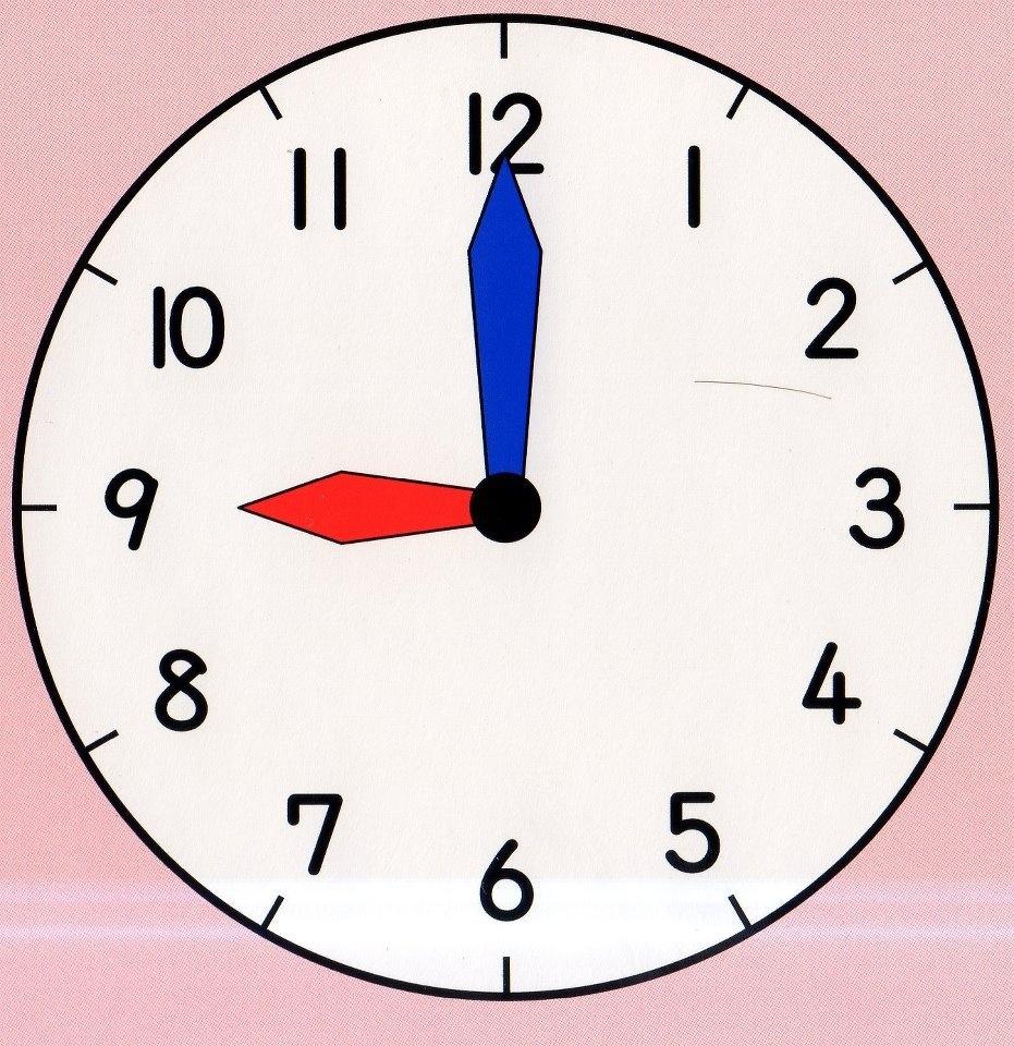 Nine O'clock Clipart.
