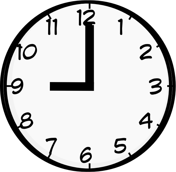 nine o u0026 39 clock clipart