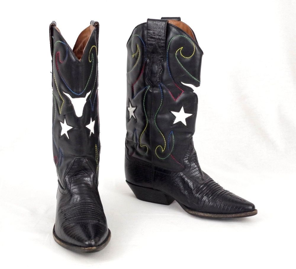 Nine West Cowboy Western Boots Womens Black Leather Peggy.