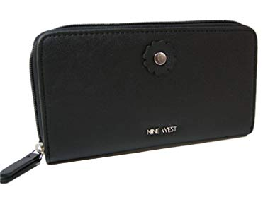 New Nine West Logo Zip Around Wallet Purse Hand Bag Black.