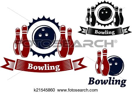 Clipart of Bowling emblems with ball and ninepins k21545860.