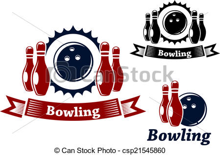 Clip Art Vector of Bowling emblems with ball and ninepins.