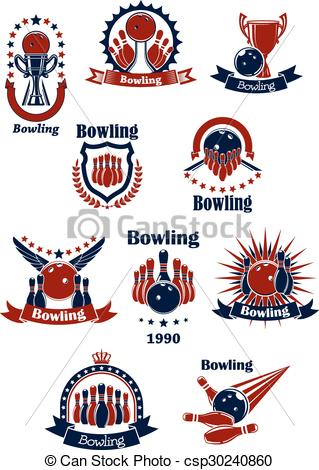 Clip Art Vector of Bowling retro icons with balls and ninepins.