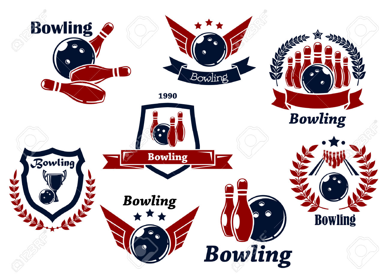 Bowling Sports Emblems And Symbols With Ball, Ninepins, Wings.