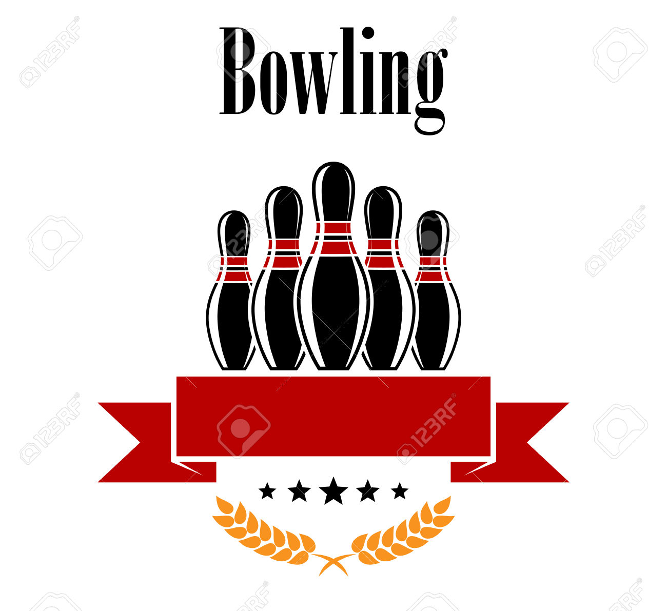 Bowling Heraldic Banner With Ninepins, Ears And Ribbon Isolated.