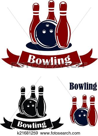 Clip Art of Bowling emblems with ball and ninepins k21681259.