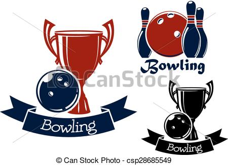EPS Vector of Bowling game icons with balls, ninepins and trophy.