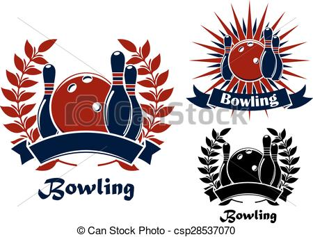 Vectors Illustration of Bowling retro emblems with balls and.