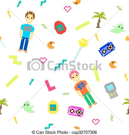 Vector Clipart of Pixel art 90s retro style seamless pattern.