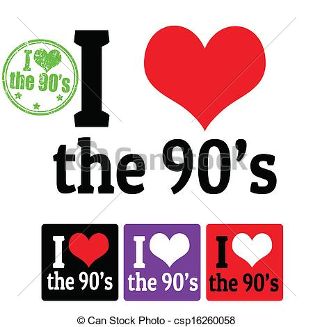 Clipart Vector of I love the 90's sign and labels on white.
