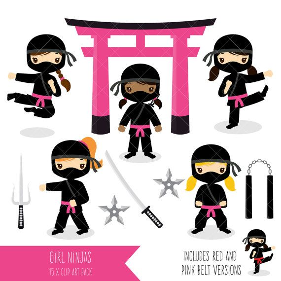 Ninja Clipart / Ninja Girls / Pink Ninja Party Printables in.