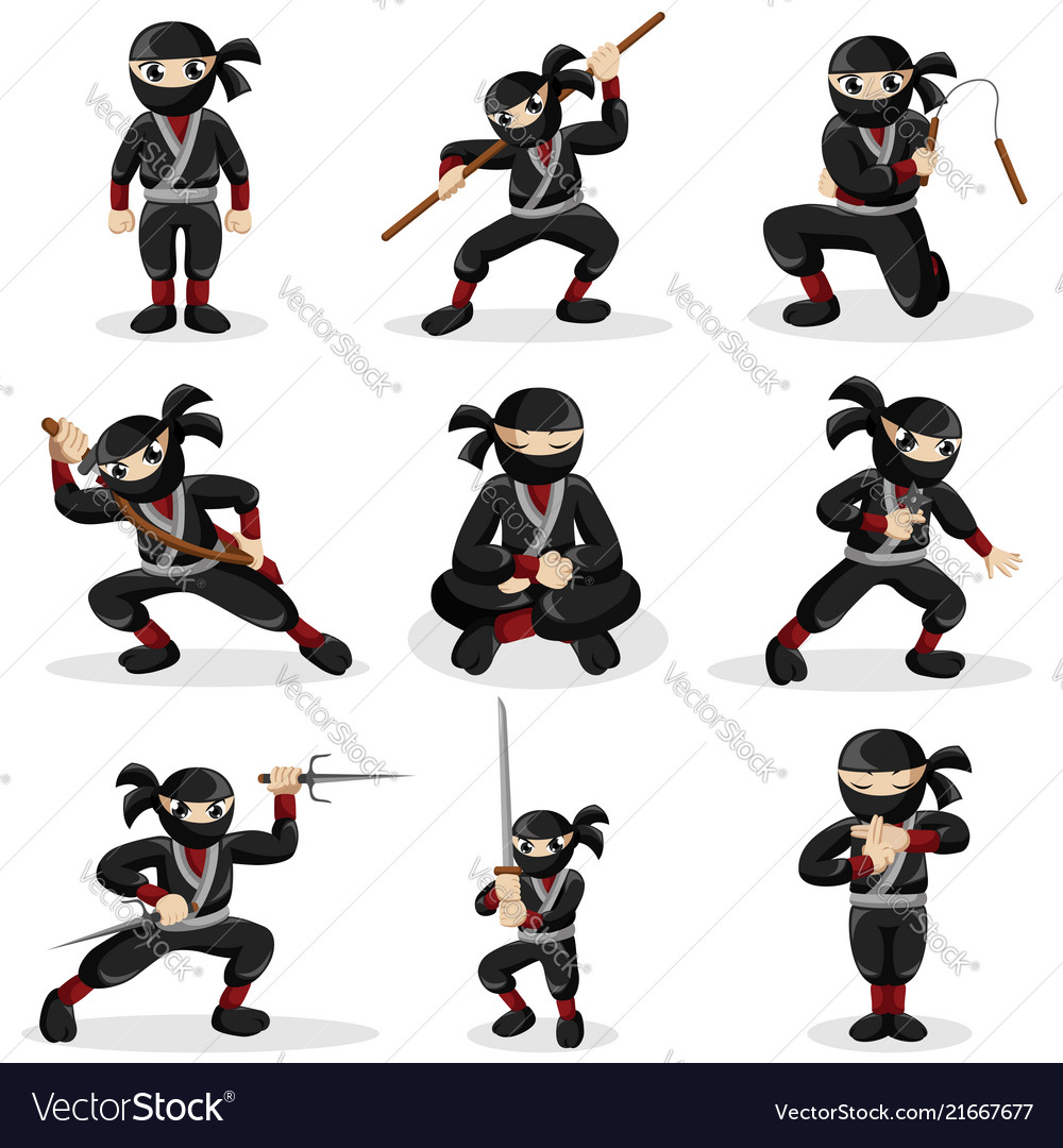 Ninja kids in different poses.