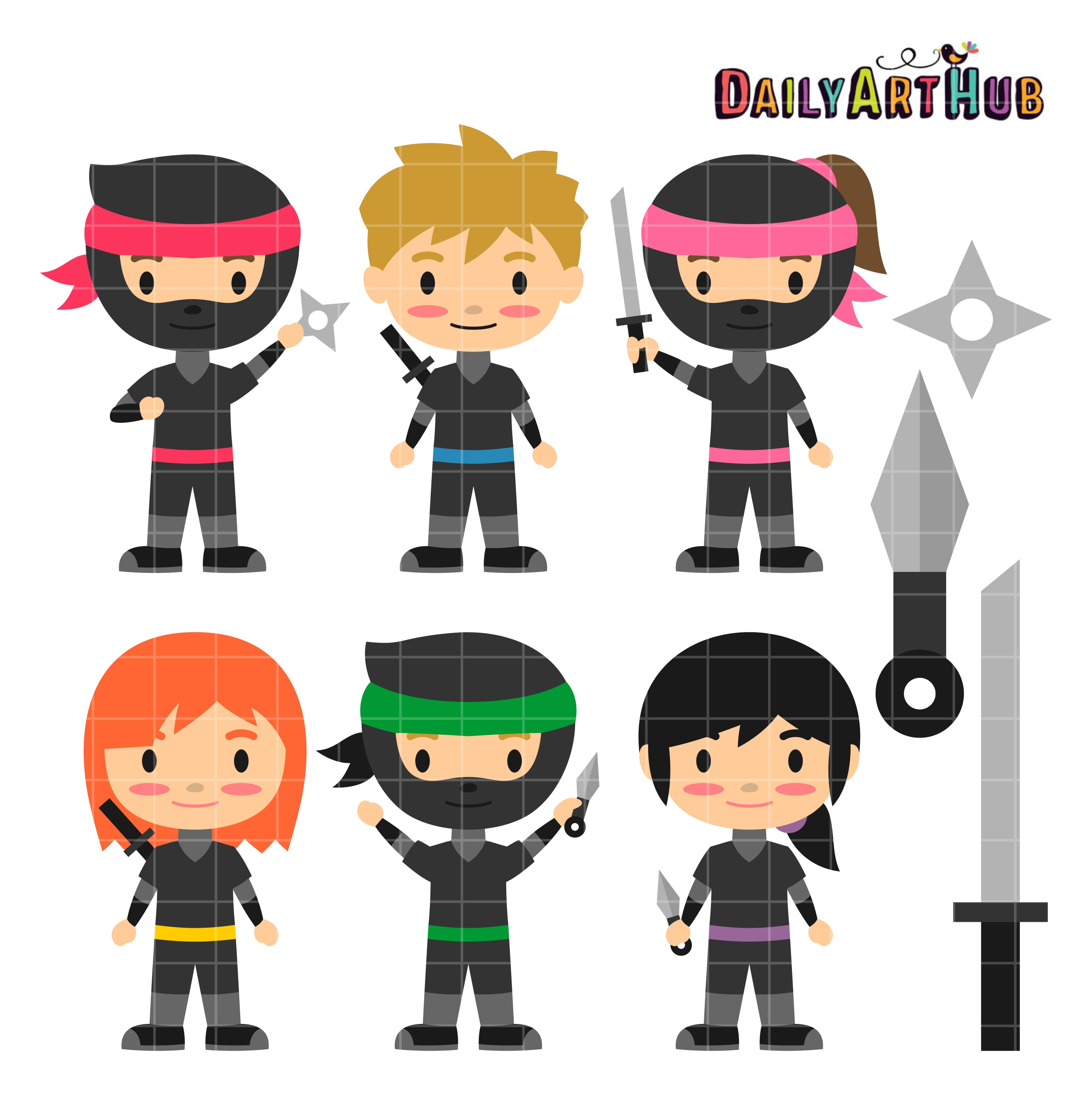 Ninja Kids Clip Art Set.