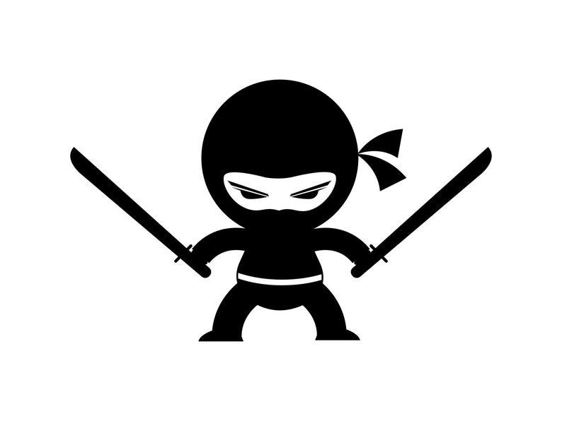 Ninja Boy Svg Ninja Svg Boys Room Silhouette Cartoon Clipart Png Dxf Files  For Cutting File Tshirt Template Vinyl Ninja Pdf Eps File.