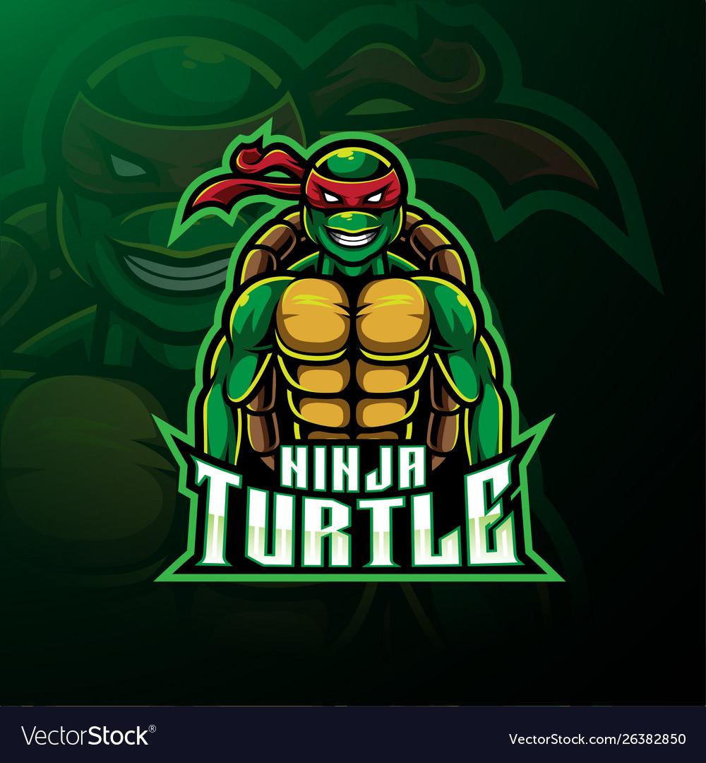 Ninja turtle sport mascot logo design.