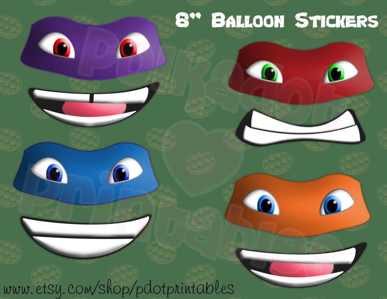 NEW Teenage Mutant Ninja Turtle Balloon Sticker Set Instant.