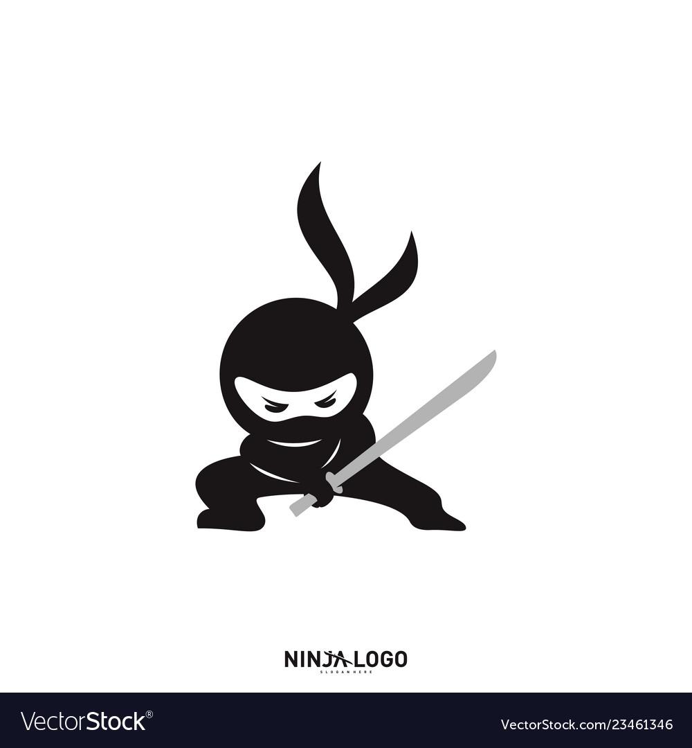 Ninja warrior logo design template silhouette of.