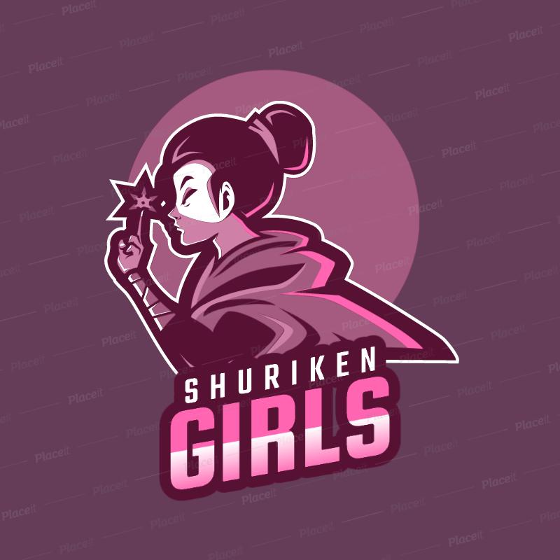 Gaming Logo Template Featuring a Female Ninja Warrior with a Shuriken 1747k  2315.