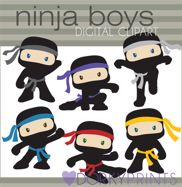 Ninja Clipart Personal and Limited Commercial Cute Boy.