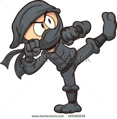 Ninja Flying Kick Vector Clip Art Stock Vector 215389786.