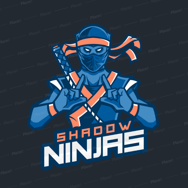 Cool Gaming Logo Maker Featuring a Dark Ninja Character 1747h.