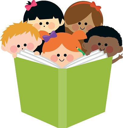 Group of kids reading a book Clipart Image.