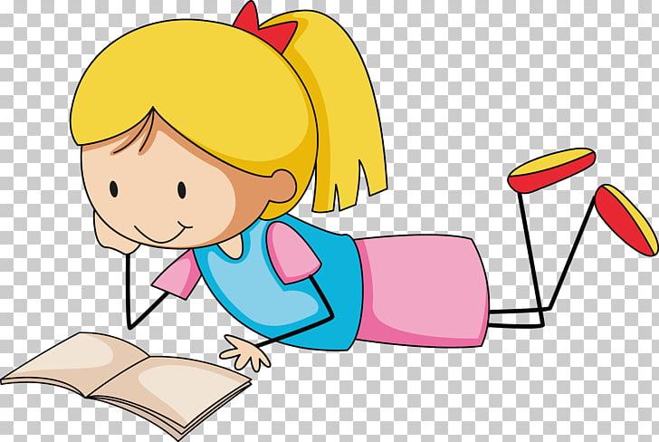 Niña leyendo libro ilustración, leyendo niño ilustración.