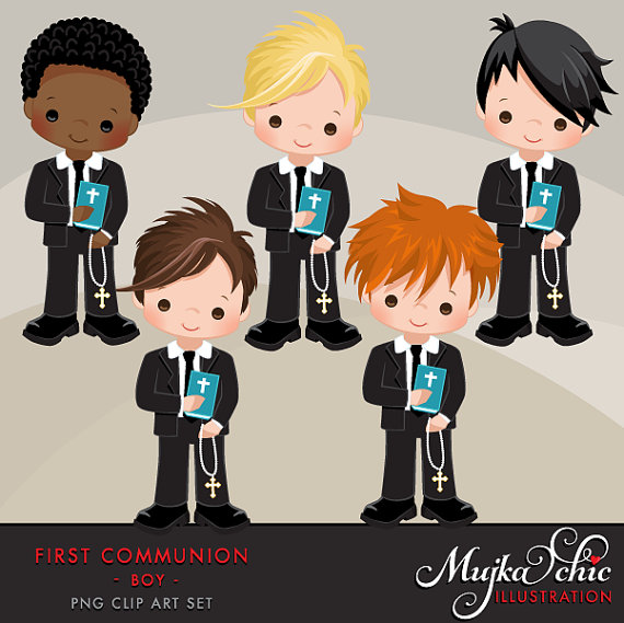 First Communion Clipart for Boys Wonderful set for first.