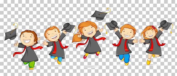 Cinco graduados, ceremonia de graduación escuela fiesta.