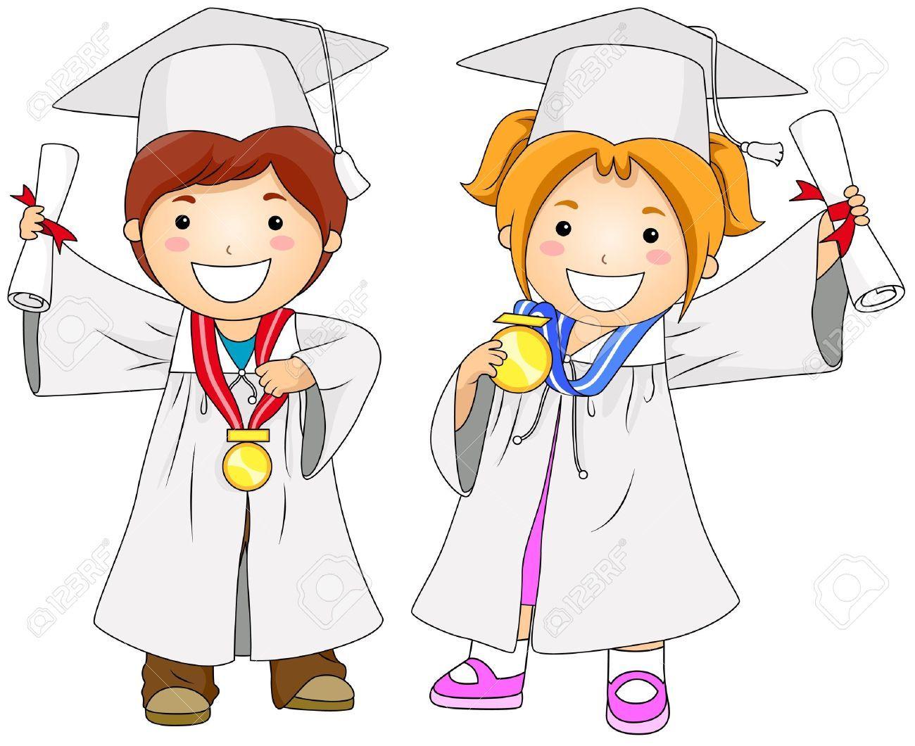 dibujos de niños graduados a color.