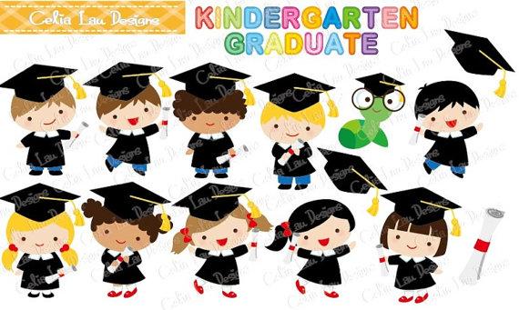 Posgrado niños y niñas de graduación fiesta Clipart Clip art.