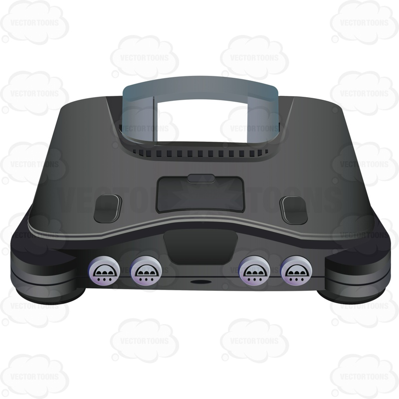 Nintendo 64 Video Game System Cartoon Clipart.