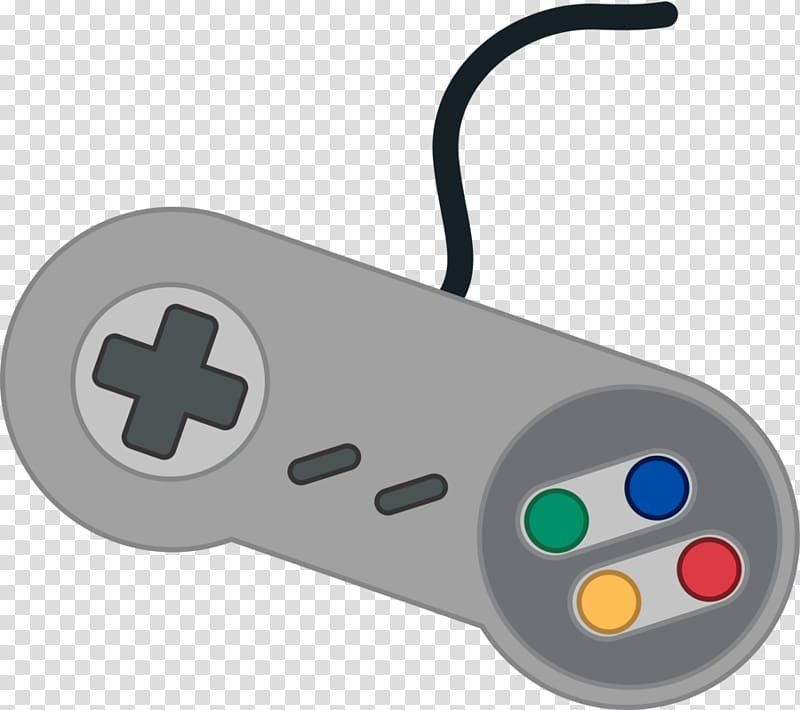 Gray corded game controller illustration, Super Nintendo.