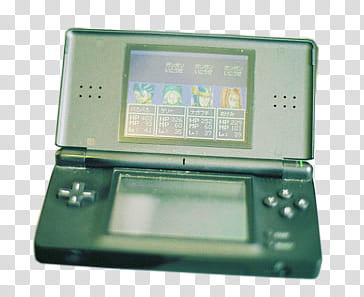 Black Nintendo DS Lite transparent background PNG clipart.