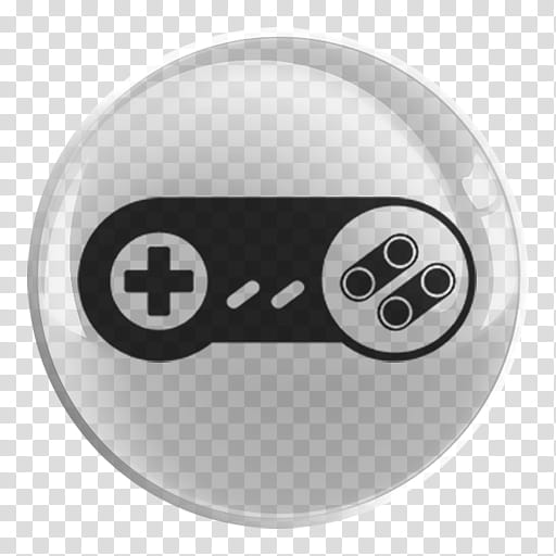 Nintendo Emulators Glass Icon , SNES, black and white.