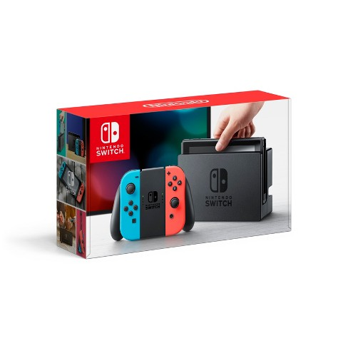 Nintendo Switch with Neon Blue and Neon Red Joy.