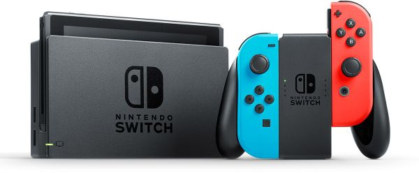 Nintendo Switch With Neon Blue and Neon Red Joy' Con.