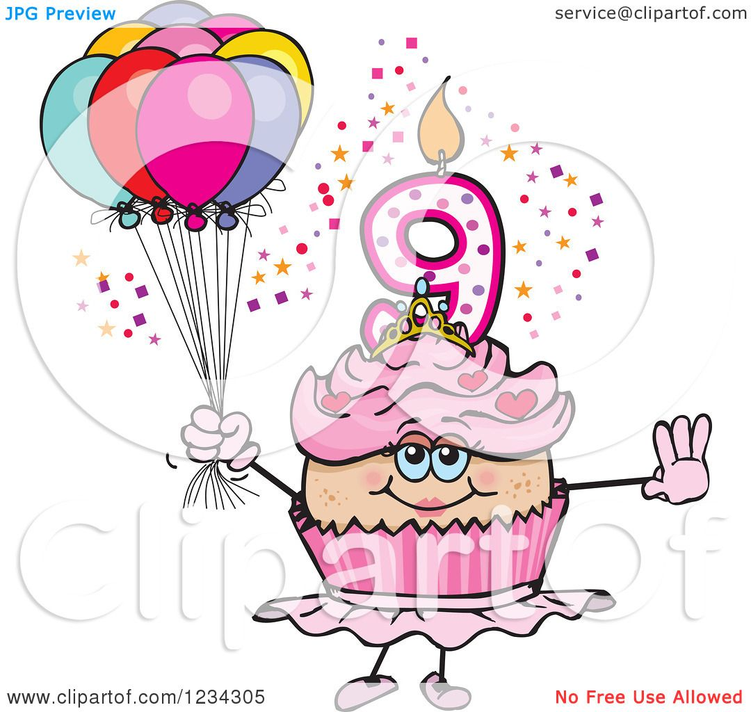 Clipart of a Pink Girls Ninth Birthday Ballerina Cupcake with.