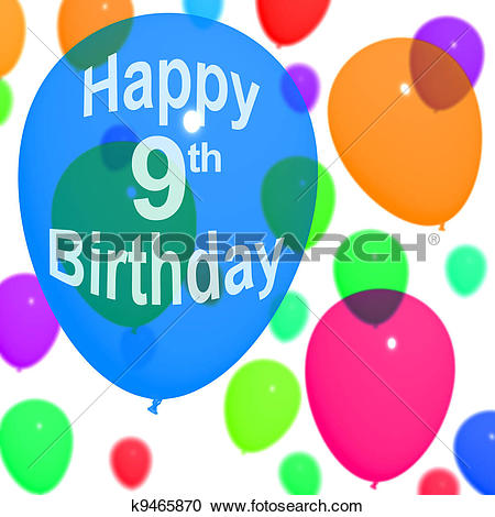 Stock Illustrations of Multicolored Balloons For Celebrating A 9th.