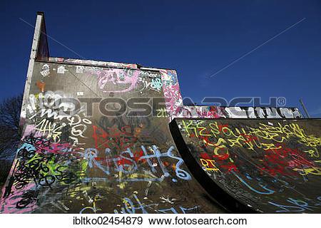 "Stock Photograph of ""Skate park, halfpipe covered in graffiti."