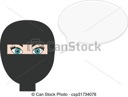 Vectors Illustration of Woman in niqab with speech bubble.