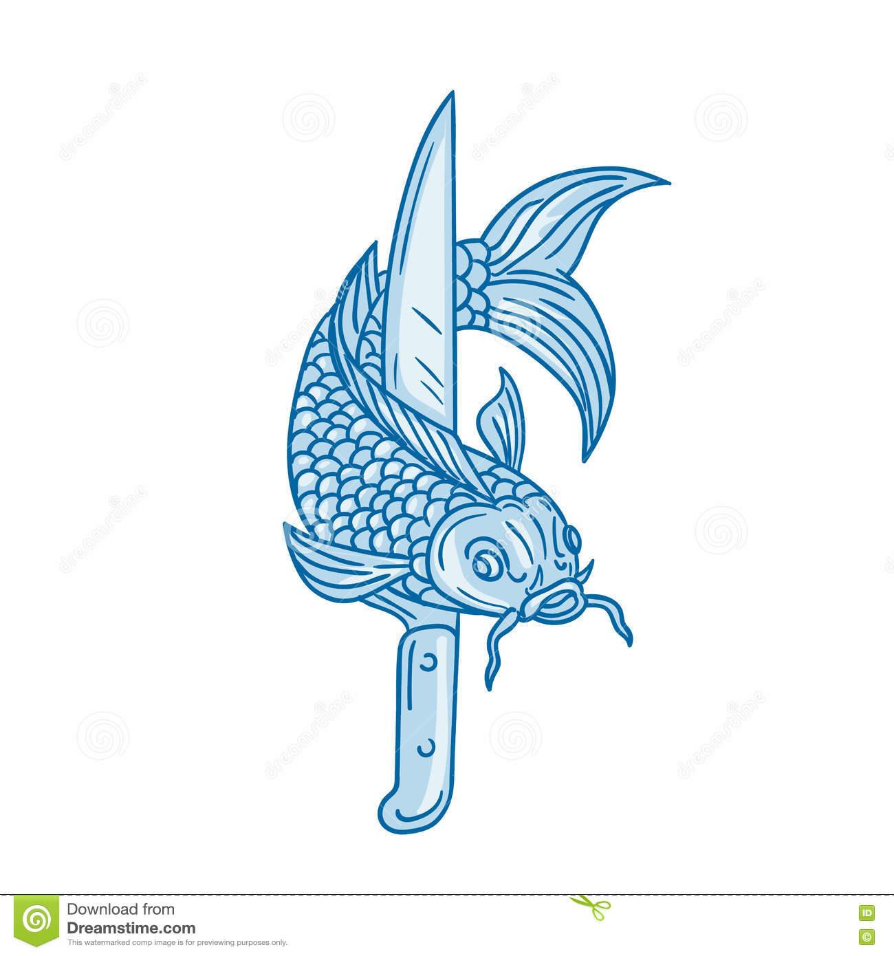 Koi Nishikigoi Carp Fish Knife Drawing Stock Illustration.