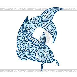 Koi Nishikigoi Carp Fish Diving Down Drawing.