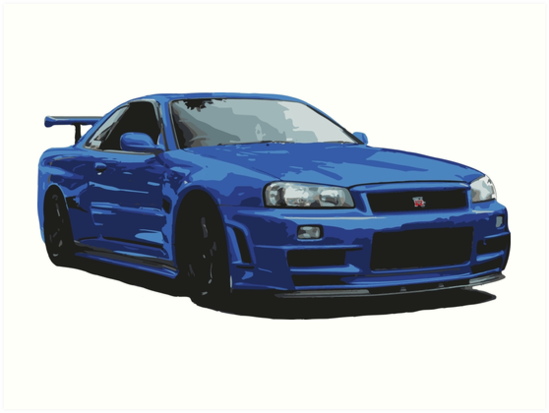 'Nissan R34 GTR Skyline blue' Art Print by chunknozza.