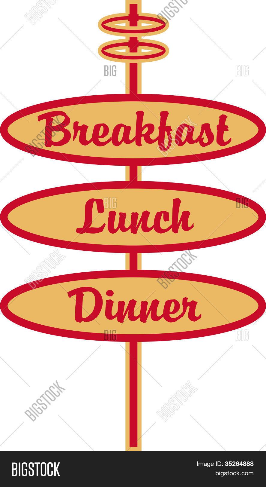 """Restaurant Zeichen Frühstück Mittagessen Abendessen ClipArt"""" Stock."""