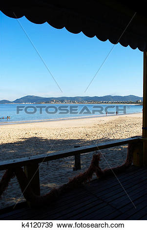 Stock Photograph of Green sea beach restaurant view in Niteroi.