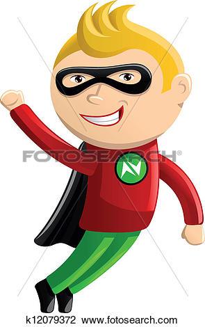 Clipart of Superhero Mascot.