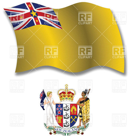 Niue wavy flag and coat of arms Vector Image #31282.