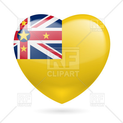 Heart with Niuean flag colors.