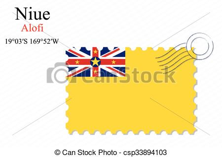 Vector Clipart of niue stamp design over stripy background.